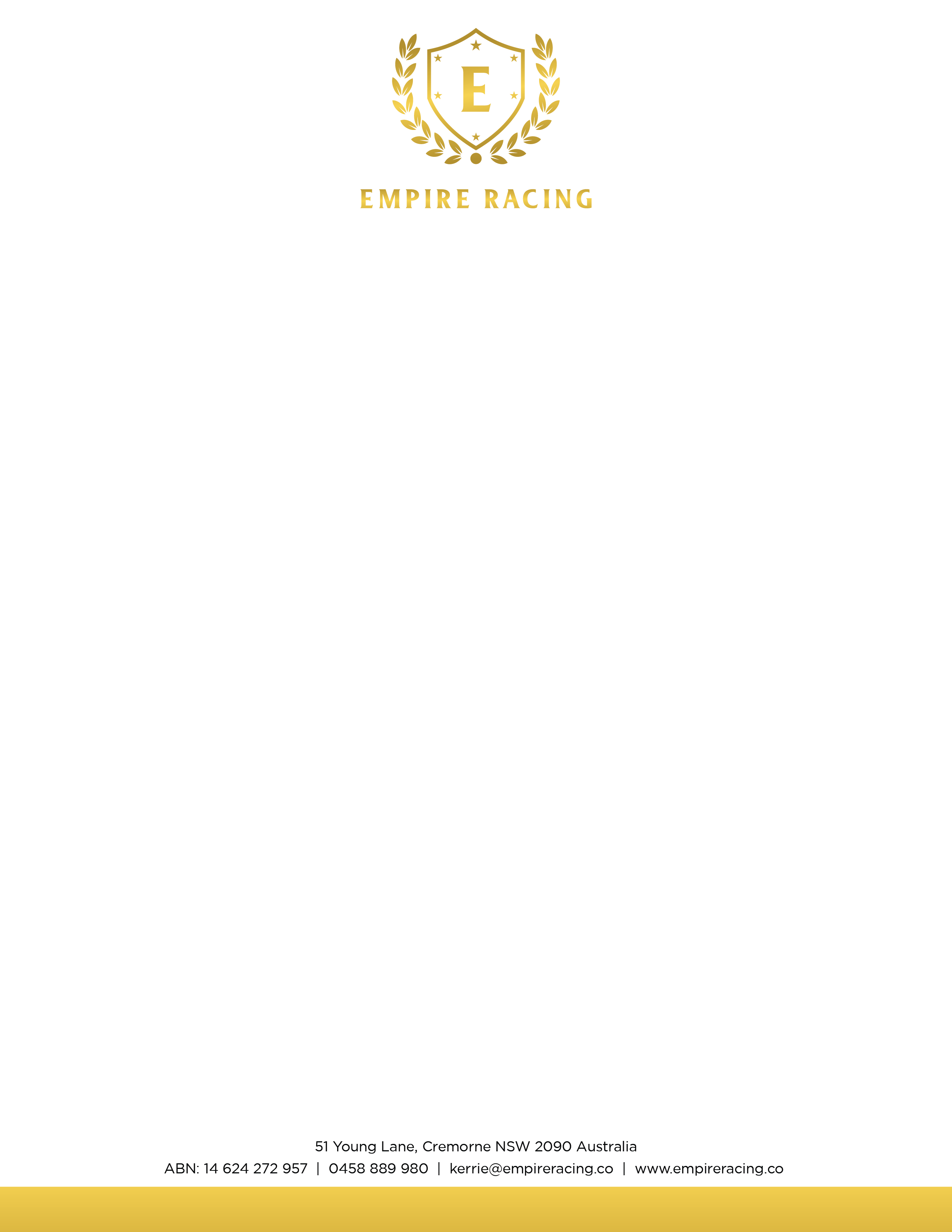 Empire Racing - Brand guide / Letterhead / Business card