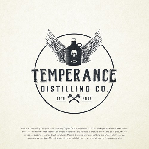 Logo concept for Temperance Distilling Company