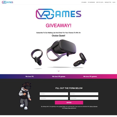 VR Games Giveaway Landing Page