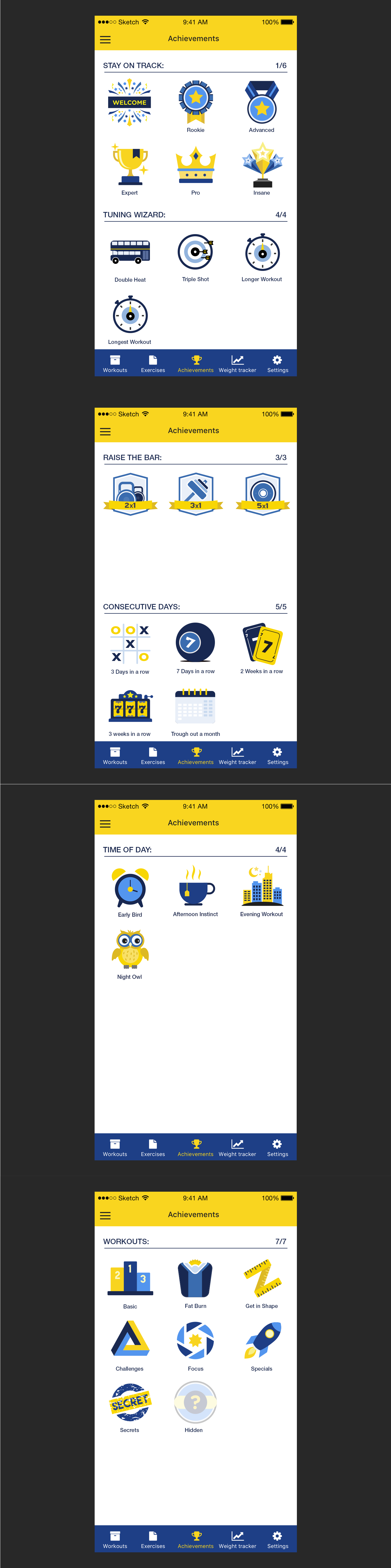 Create a gamification icon set for fitness app