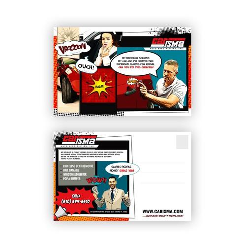 Pop art postcard for car repair service