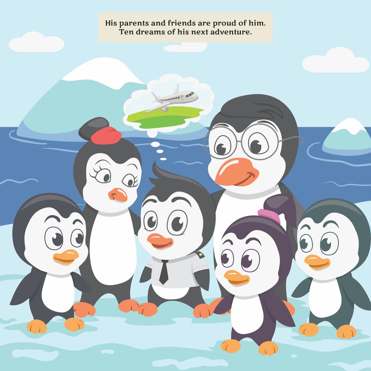 Penguin pilot illustrations set