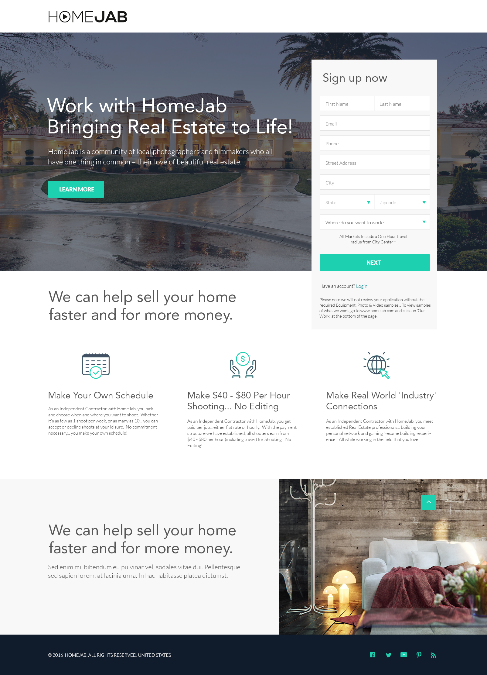 Web design for HomeJab