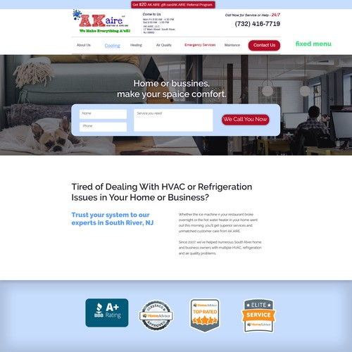 Website for Heating/Cooling/Electrical Company