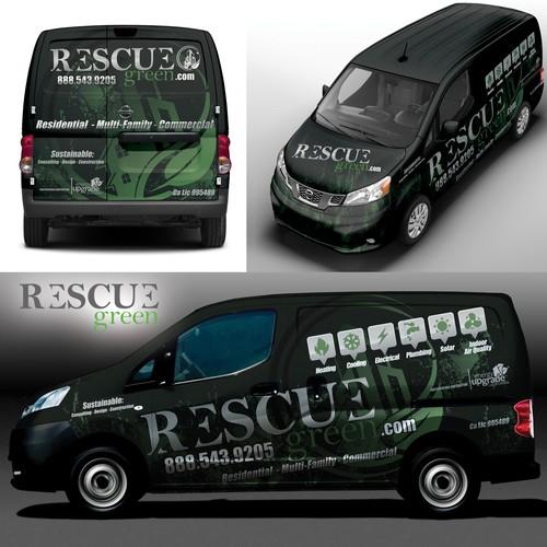 RESCUE Green Commercial Van Wrap