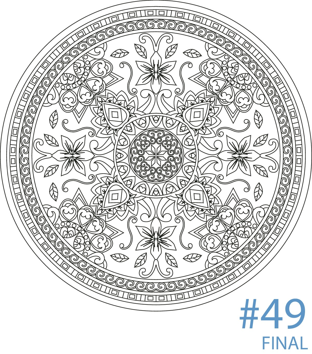 Create 50 mandala designs  in 14 days