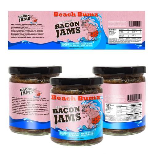 Bacon jam label design