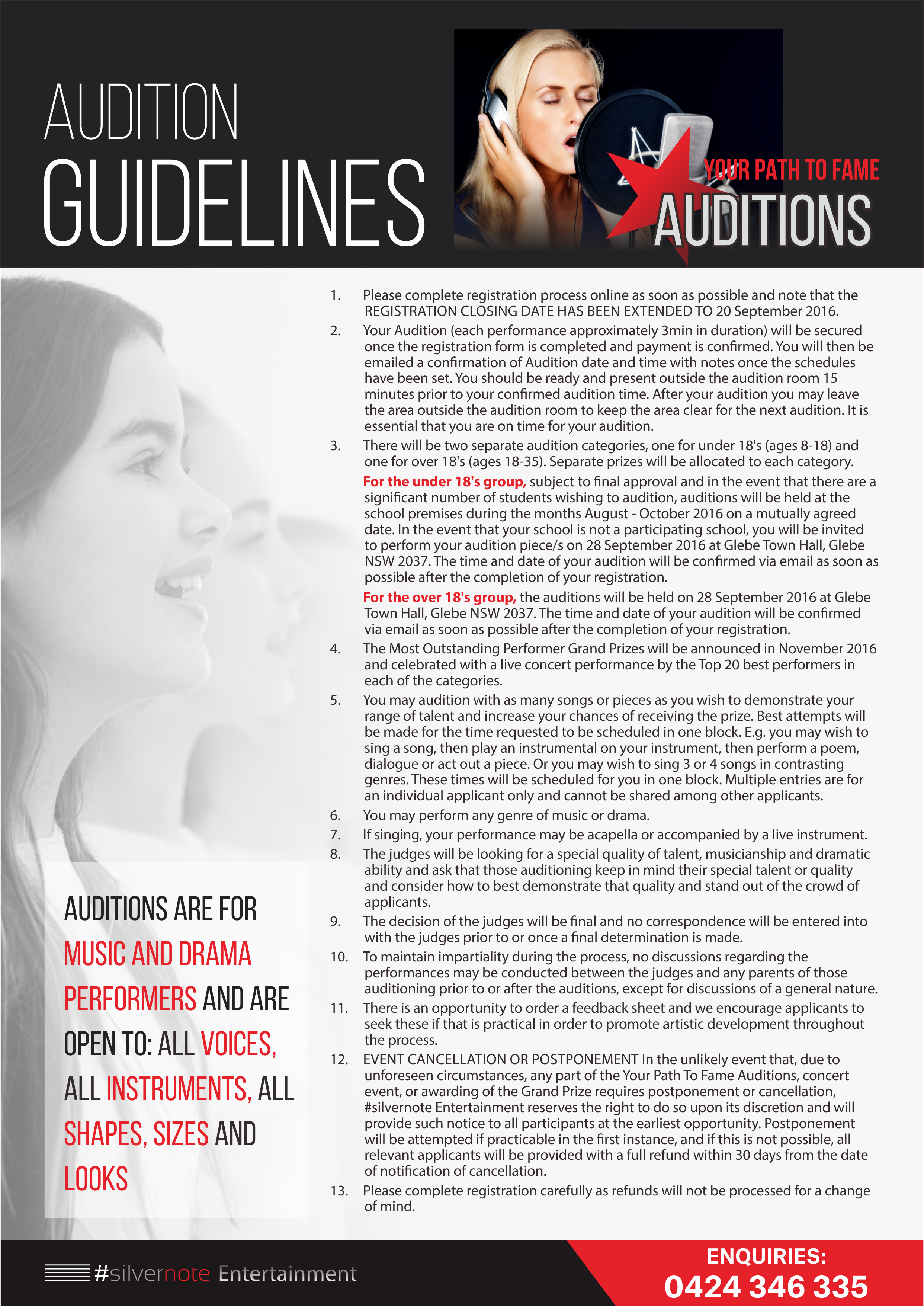 2 pages A4 Audition Flyer (digital & print quality)