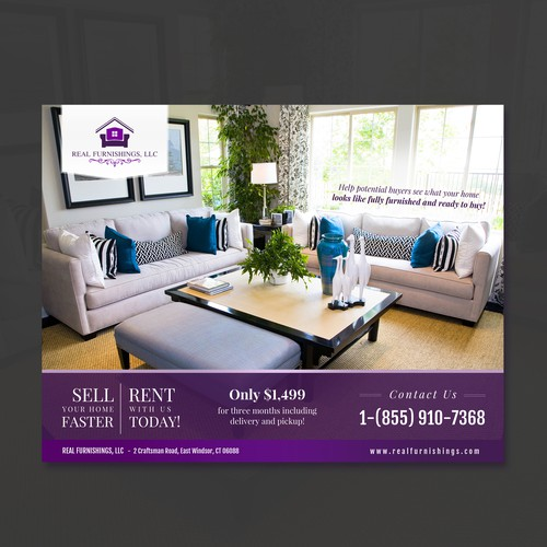 A morden flyer for a restate listing furniturerental company