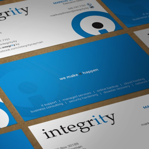 Business card for integrity
