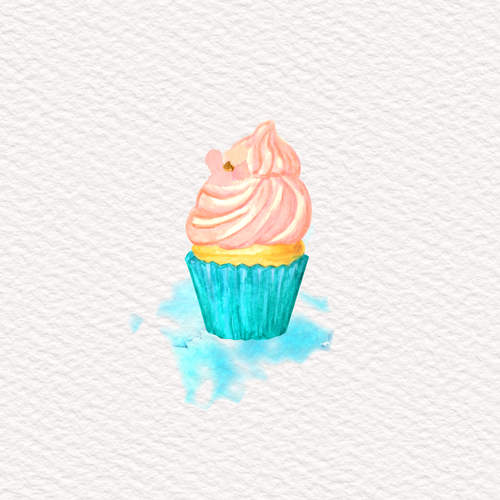 Cupcake Hand Painted in Watercolor