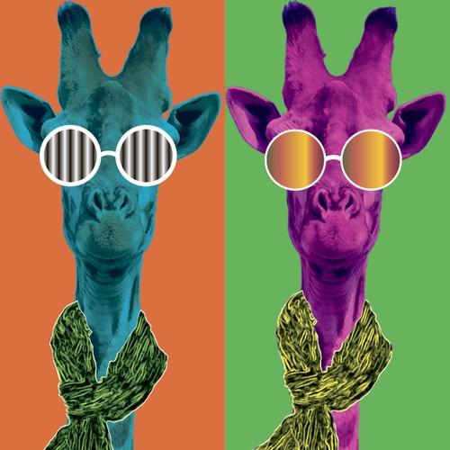 Colorful, unique animal in pop-art