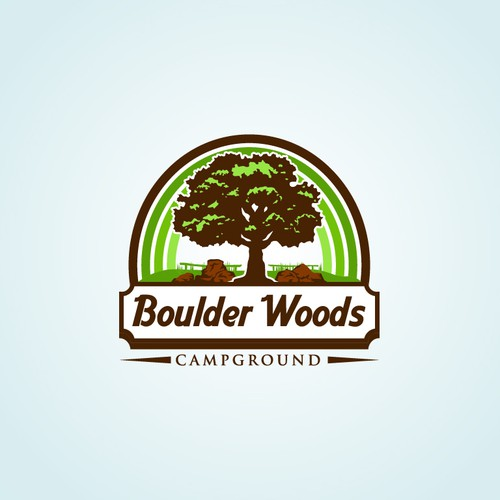 Bold and vintage logo for boulder woods campground