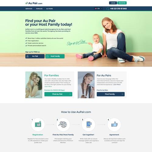 Website redesign for AuPair.com