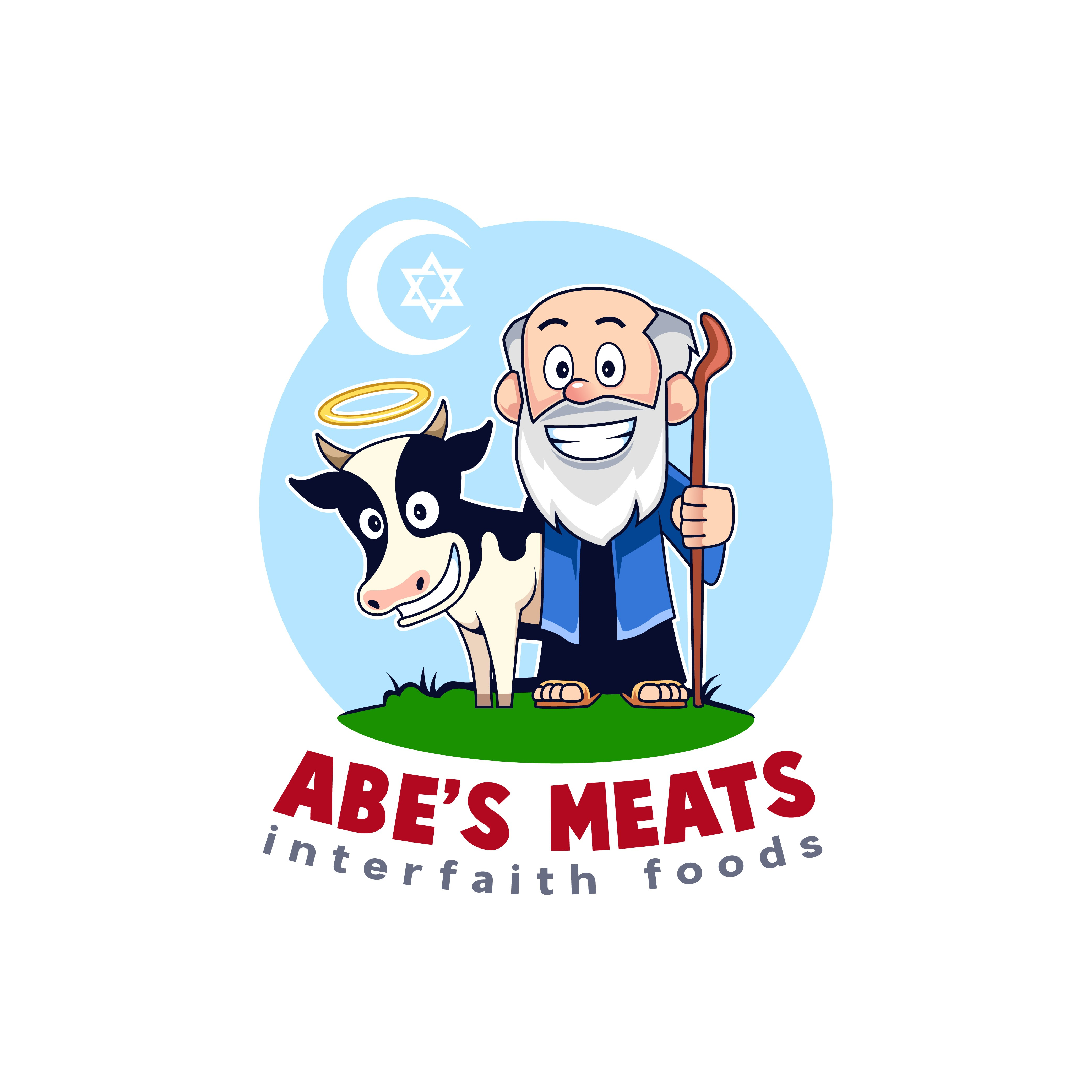 Create a Simple, Colorful Cartoon Mascot Logo for Abe's Meats