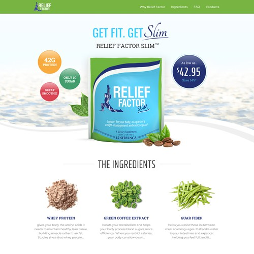Landing page design for slim shake