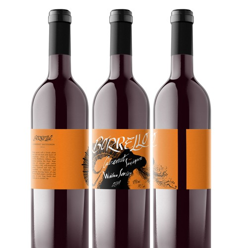 Wrap-around, illustrated wine label