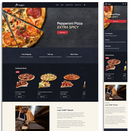 Ecommerce website for a pizza restaurant