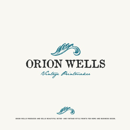 Logo for vintage printmaker Orion Wells