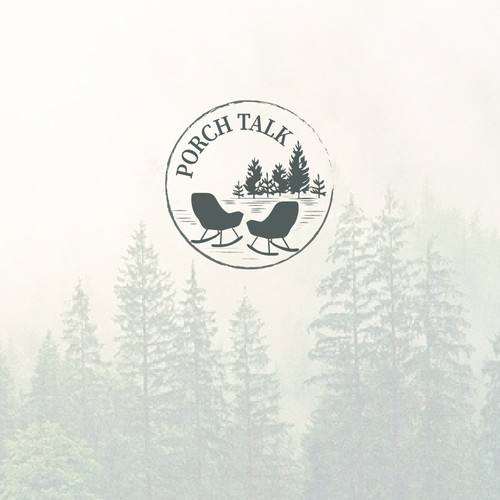 This is a logo for a cabin that will be called Porch Talk