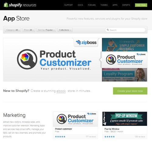 Create a high traffic Shopify App Banner for ZipBoss' new Product Customizer