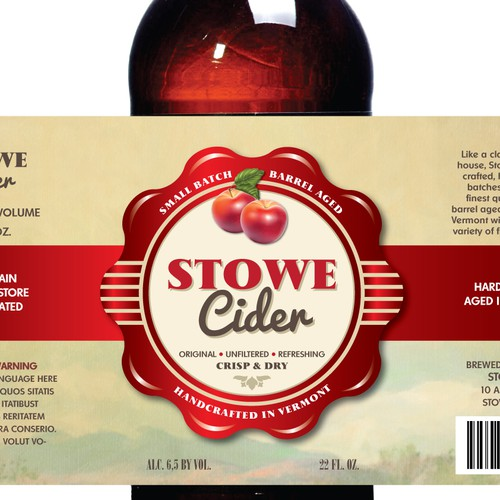 New label for Stowe Cider