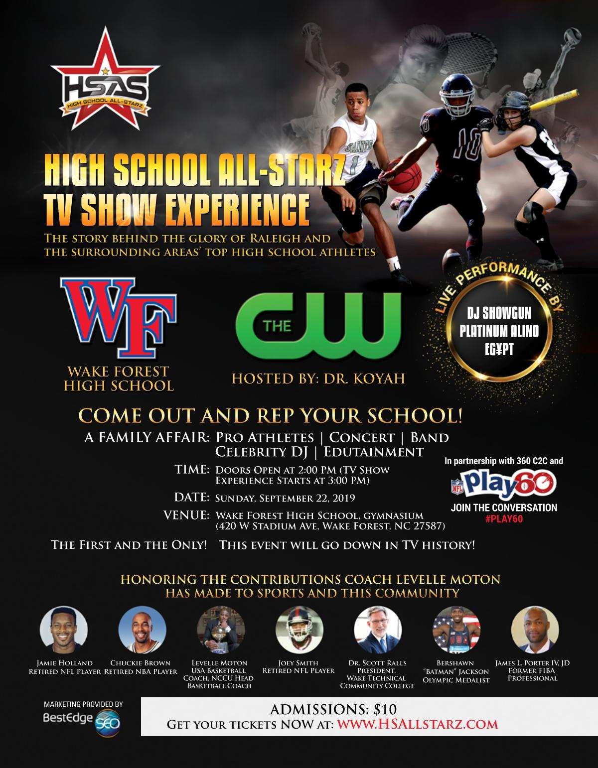 High School All-Starz TV Show taping invitation flyer