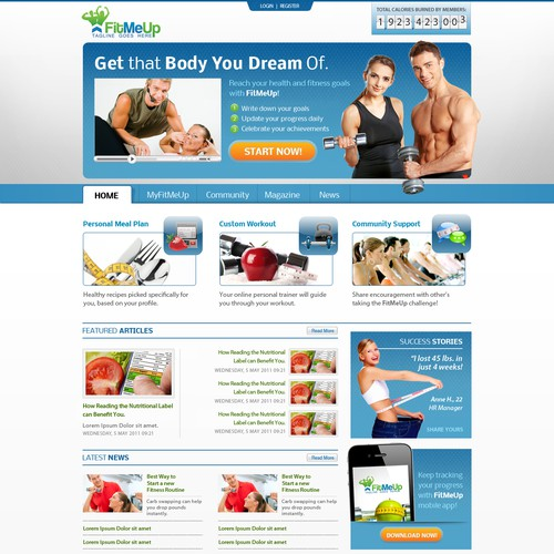 Website Design for FitMeUp - Fitness Portal