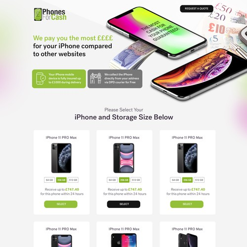 creative web page design for selling mobile/iphone