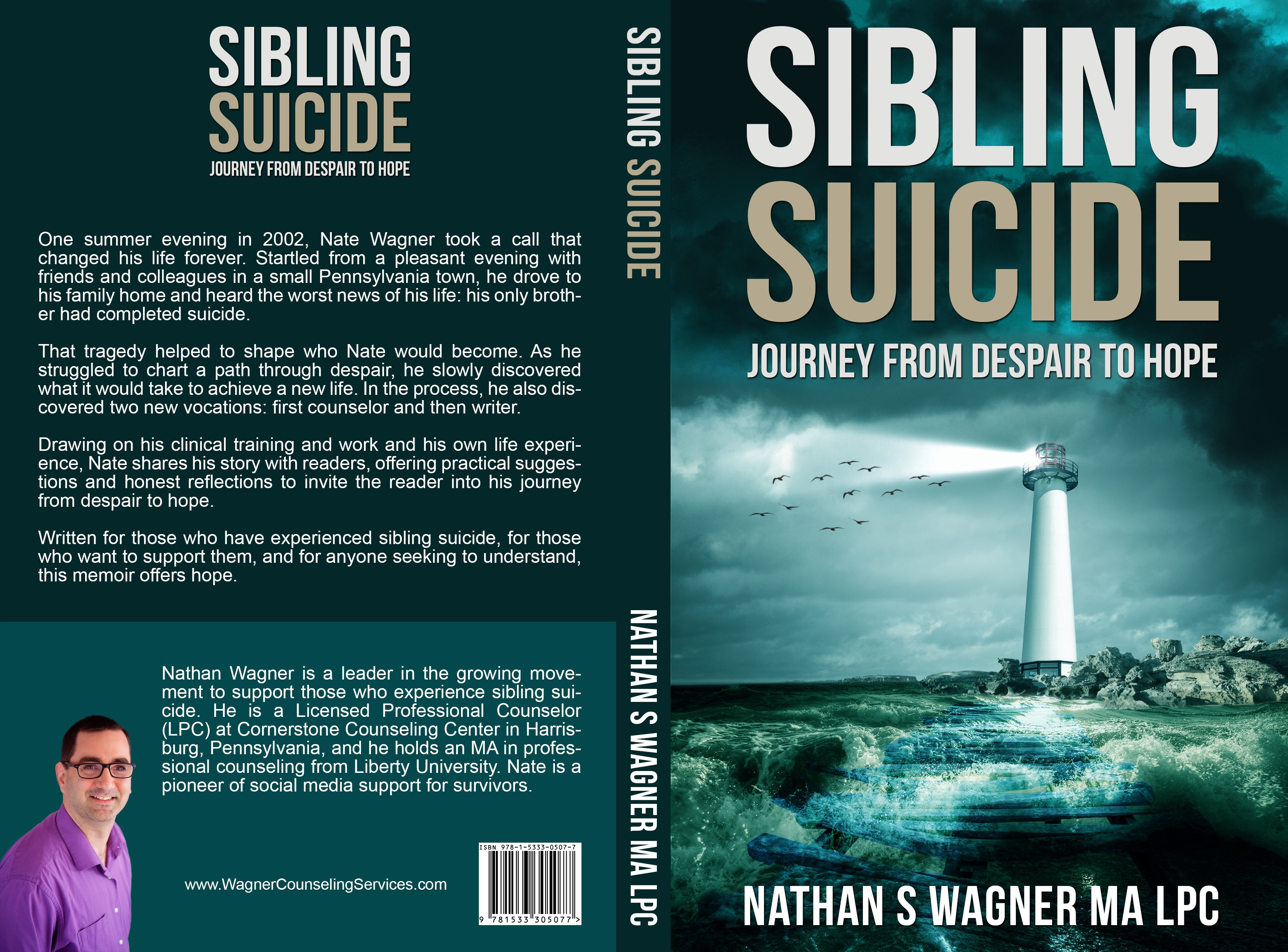 Create a captivating book cover for a memoir Sibling Suicide: Journey from Despair to Hope