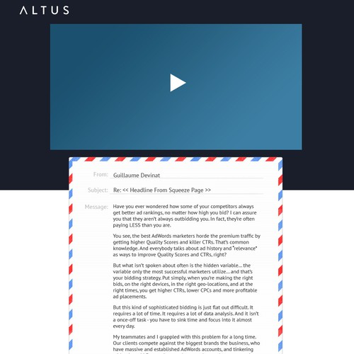 Create a SaaS sales page for altus.io