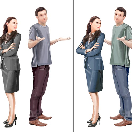Illustrate photograph of characters for Romantic Comedy Book