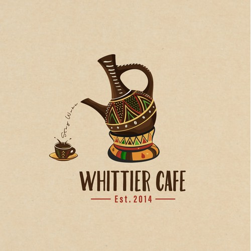 Whittier Cafe Logo Design for the African espresso bar that has a social justice mission.