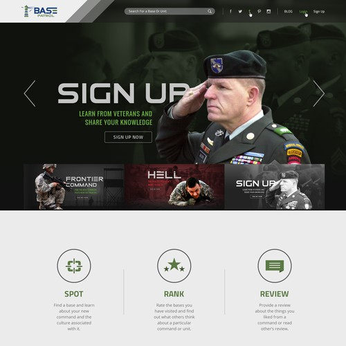 Strong Design For Military Base Rating Website
