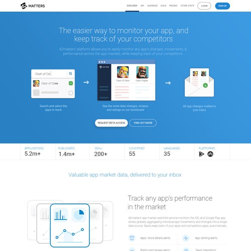Product Landing page design for 42 Matters