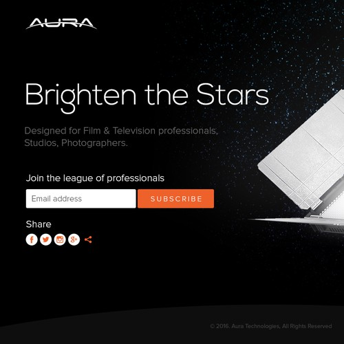 Landing Page design concept for AURA