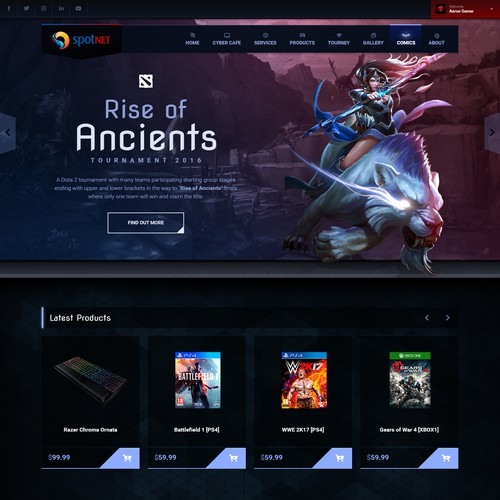 Gaming Website for SpotNet