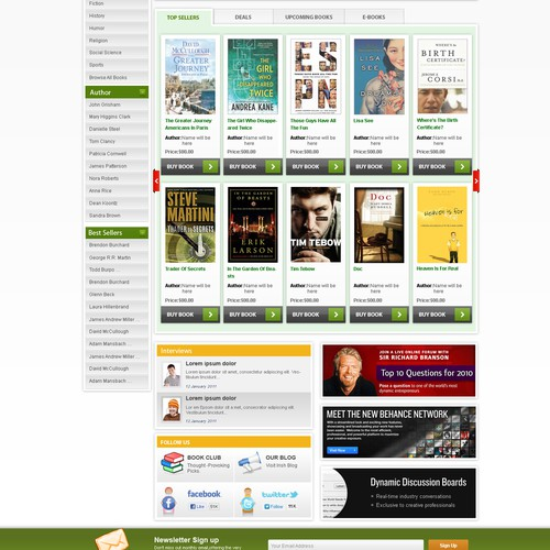 Create the next website design for Irish Books and Authors