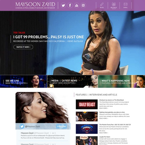 Website design Comedian Maysoon Zayid.