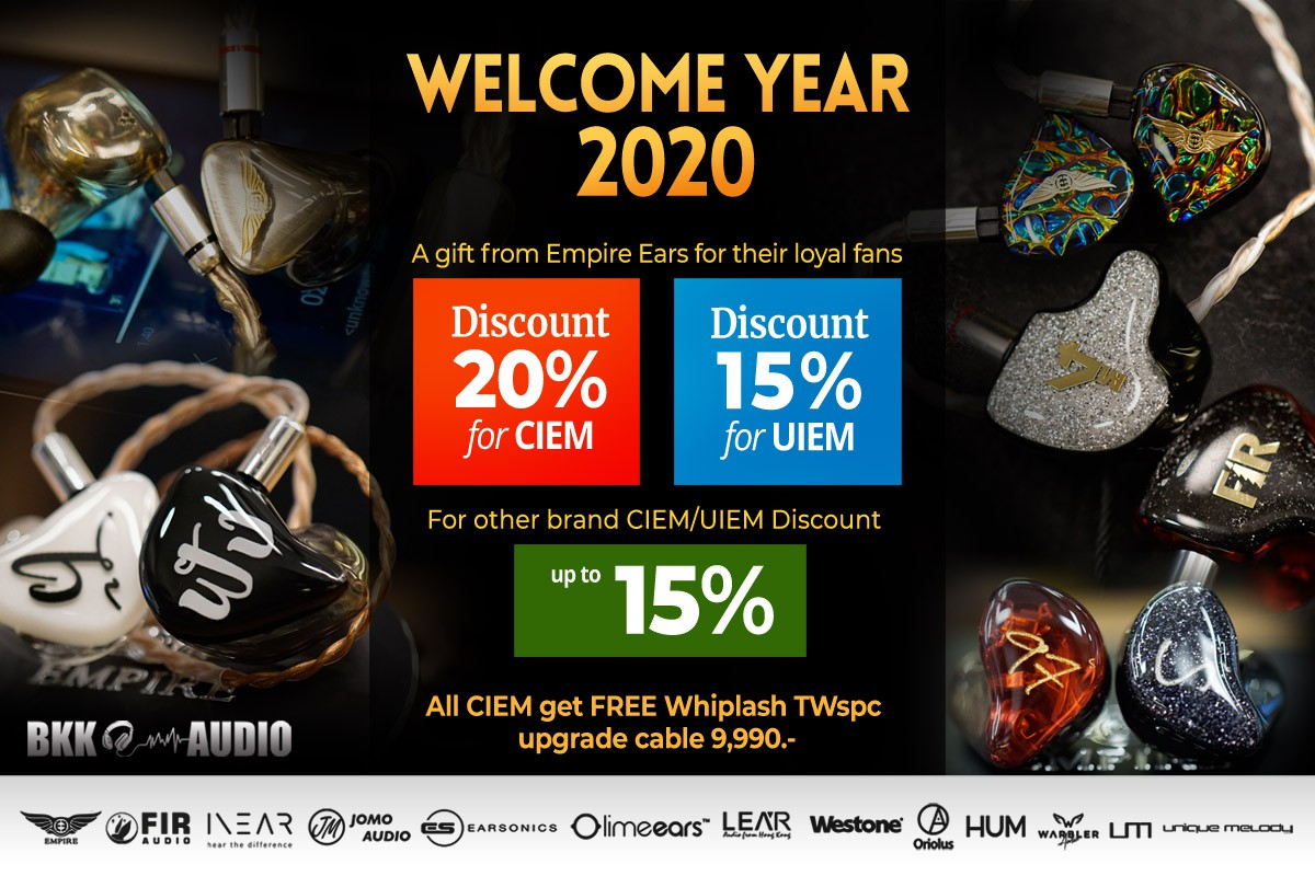 Banners ads welcome year 2020 Empire Ears royal fan discount 20% for CIEM and 15% for UIEM