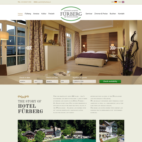 Hotel website homepage