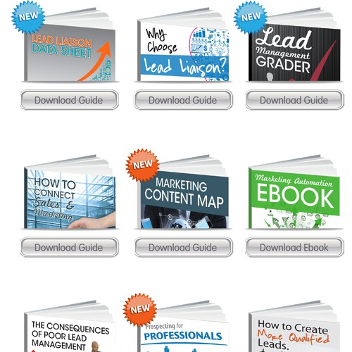 Website Graphics for Content Download with Different Covers