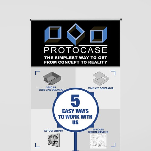Create a capturing trade show banner for a fully custom electronic enclosure manufacturer