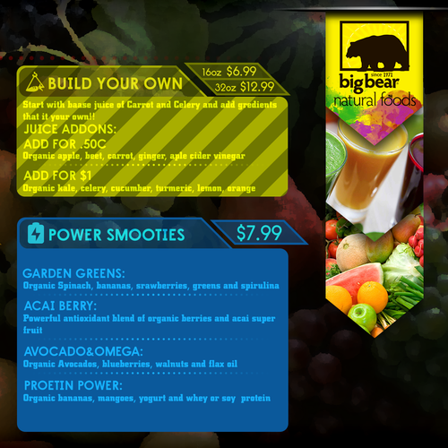 DESIGN A HIP ORGANIC JUICE BAR AND DELI MENU!