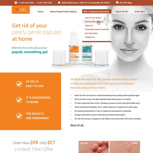 homepage for a medical gel website