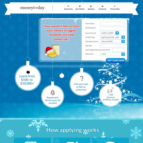 Christmas Loans Landing Page for moneytoday.com