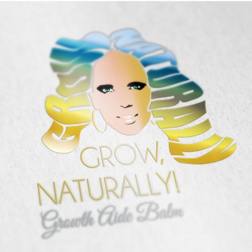 Create a hair logo design for Grow, Naturally! Growth Aide Balm