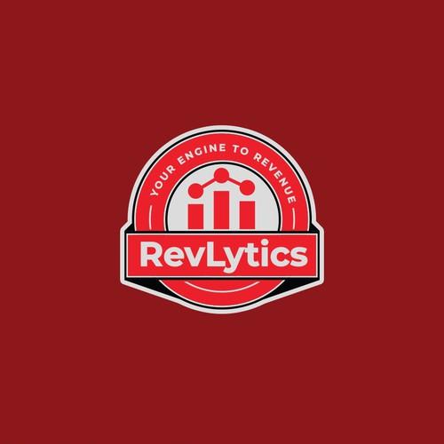 Badge style logo concept for RevLytics