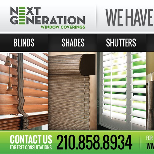 Create a modern window treatment ad for Next Generation Window Coverings