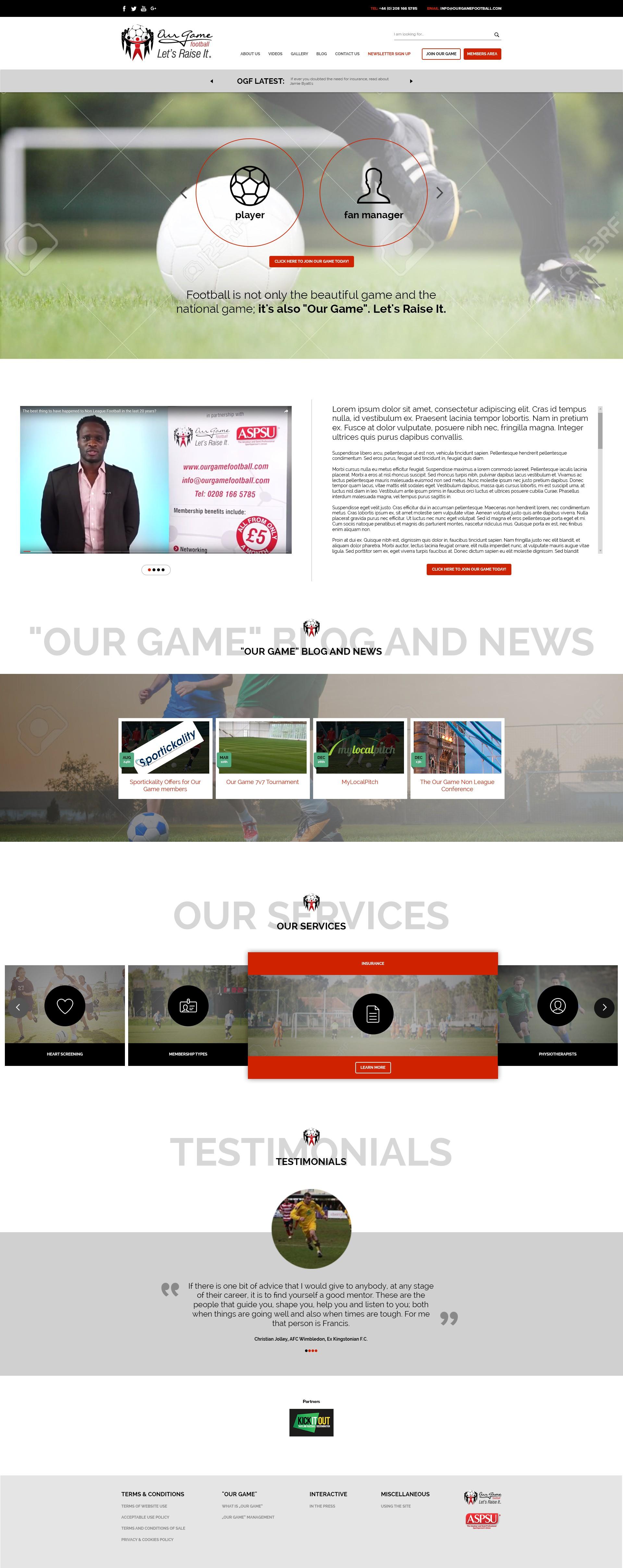 Redesign for footballers' network website